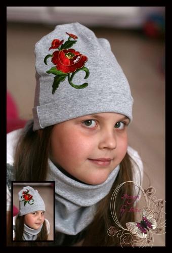 Серая шапка «Крупная Роза»