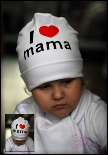 Хлопковая шапочка с принтом Я люблю маму