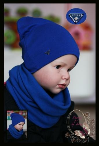Удл. шапка для мальчика «Style» (василек)