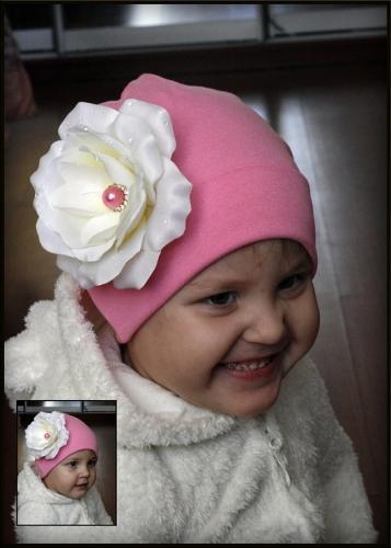 Розовая шапочка Роза с росинками