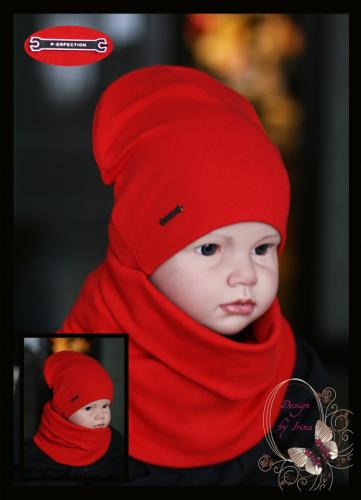 Удл. шапка для мальчика «P-erfection» (красный)