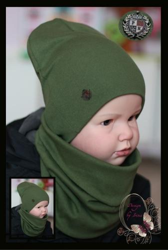 Удл. шапка для мальчика «P*H» (хакки)