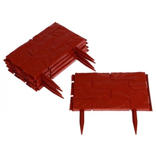 Ограждение декоративное, 25 х 325 см, 12 секций, пластик, терракотовое,