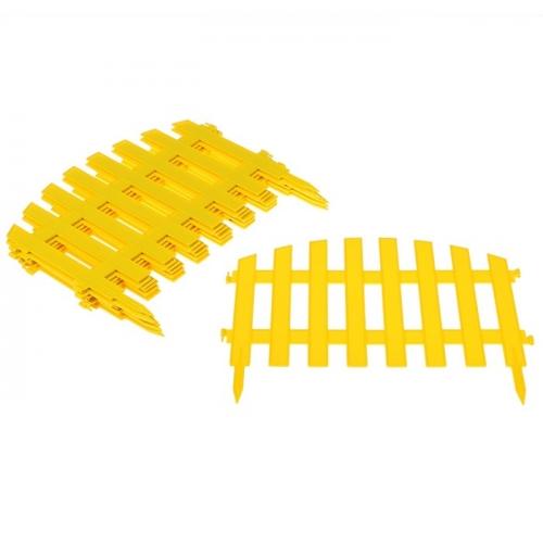Ограждение декоративное, 35 х 267 см, 7 секций, жёлтое,