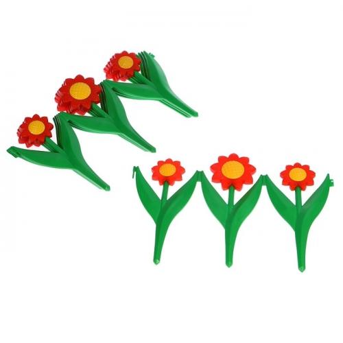 Ограждение декоративное, 32.5 х 225 см, 5 секций, пластик, красный цветок, «Ромашка»
