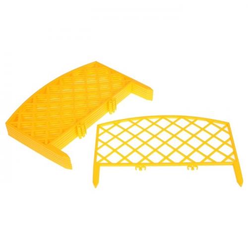 Ограждение декоративное, 24 х 320 см, 7 секций, пластик, жёлтый,