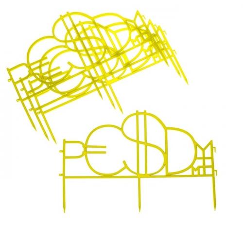 Ограждение декоративное, 35 х 220 см, 4 секции, пластик, жёлтый,
