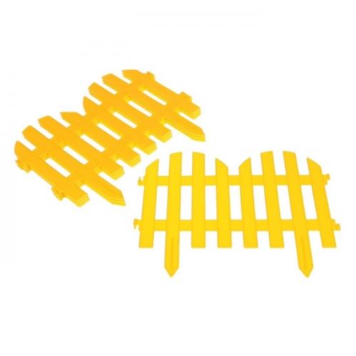 Ограждение декоративное, 28 х 300 см, 7 секций, пластик, жёлтый