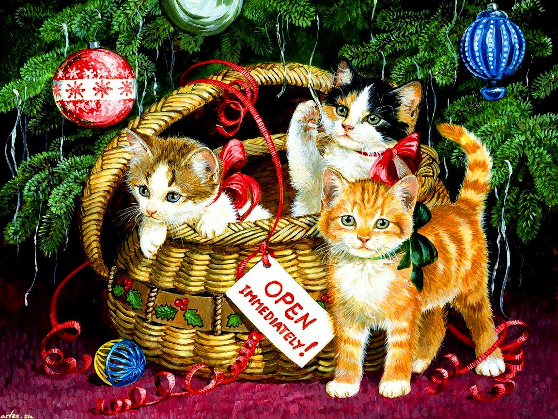 Открытка котенок новый год