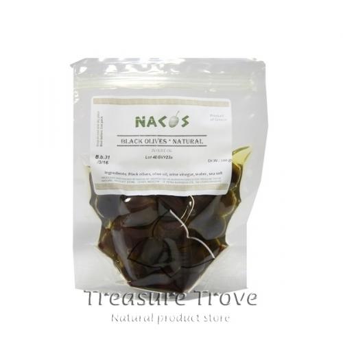 200г, Оливки черные НАКОС в оливковом масле, цельные, бочкового засола