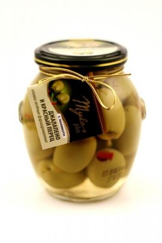Оливки Зелёные S.MAMMOTH с джалапено и красным перцем (91-100)