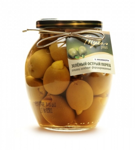 Оливки Зелёные S.MAMMOTH с зелёным острым перцем (91-100)