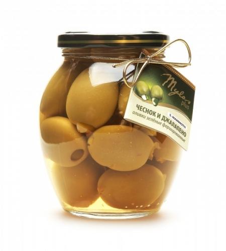 Оливки Зелёные S.MAMMOTH с чесноком и джалапено (91-100)