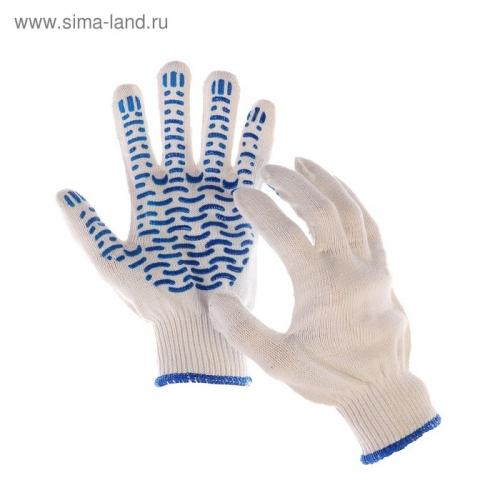 Перчатки, х/б, вязка 10 класс, 5 нитей, с ПВХ протектором, белые,