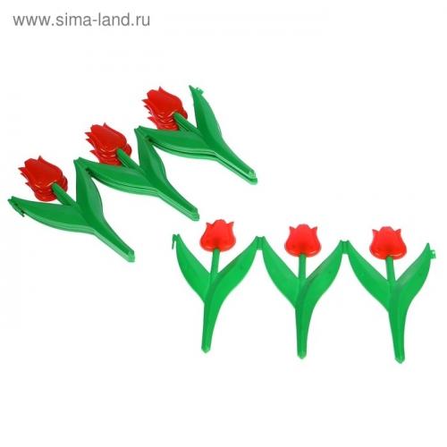Ограждение декоративное, 30 х 225 см, 5 секций, пластик, красный цветок, «Тюльпан»; ;