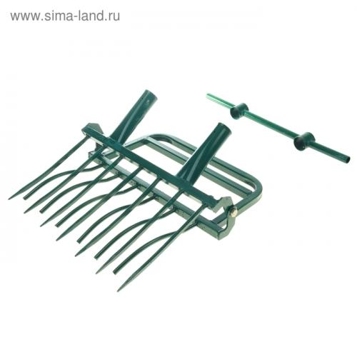 Рыхлитель садово-огородный, ширина копки 55 см, 7 зубцов, 2 ручки, тулейка 40 мм, без черенка, «Суперземлекоп-7»; ;