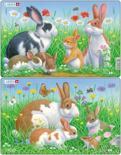 Пазл Кролики, 8 деталей