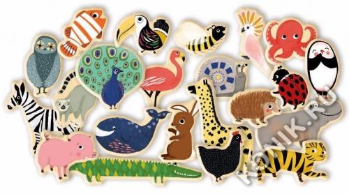 Деревянные магниты Зоопарк, 36 деталей