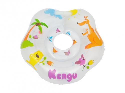 Надувной круг на шею для купания малышей Kengu. Одна камера, одна погремушка, мягкий внутренний шов.