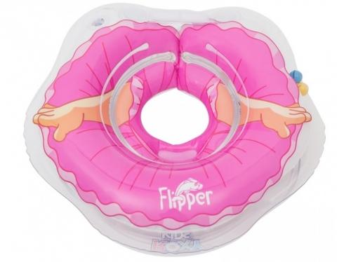 Надувной круг на шею для купания малышей Flipper Балерина. Две камеры, мягкий внутренний шов, 3D-дизайн.