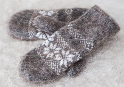 Арт 168 - Варежки из шерсти женские Серые