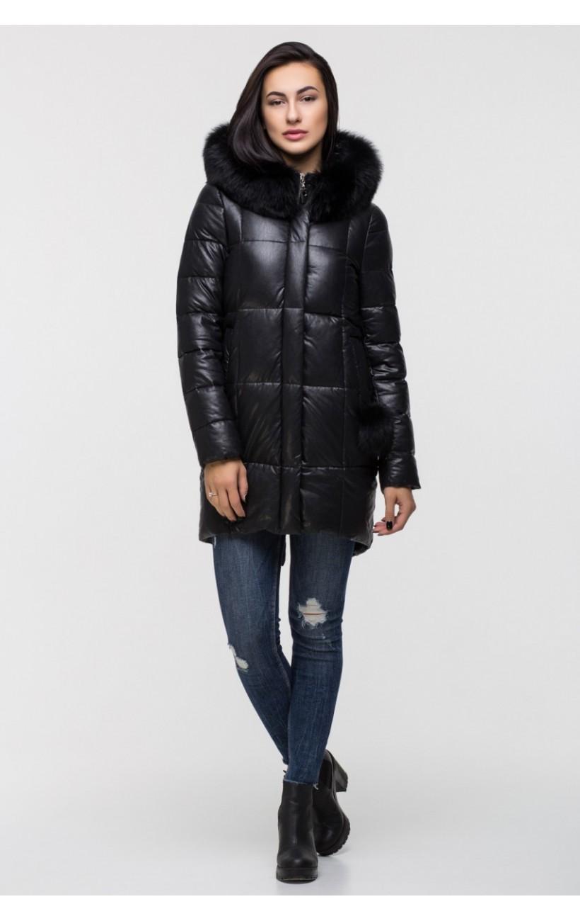 75811c37e103 Зимняя куртка из эко-кожи ZILANLIYA 17356 (черный)