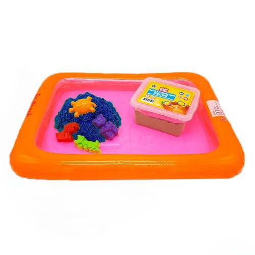 Набор песочница надувная+4 формочки+ песок 1 кг в пластик. контейнере (цвет песка синий)