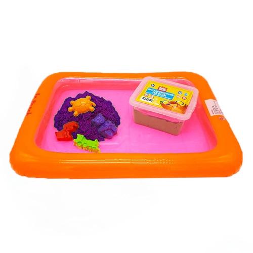 Набор песочница надувная+4 формочки+ песок 1 кг в пластик. контейнере (цвет песка сиреневый)