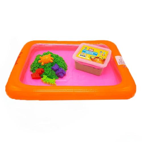 Набор песочница надувная+4 формочки+ песок 1 кг в пластик. контейнере (цвет песка зеленый)