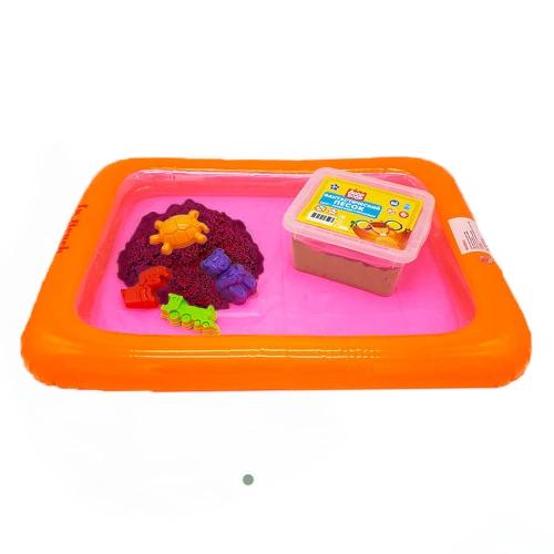 Набор песочница надувная+4 формочки+ песок 1 кг в пластик. контейнере (цвет песка розовый)