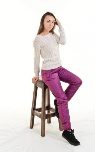 Утепленные зауженные женские брюки синтепон пояс резинка, цвет - брусника арт. 006 D