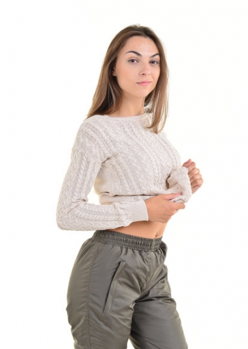 Утепленные зауженные женские брюки утеплитель синтепон пояс резинка, цвет - хаки артю 006 D