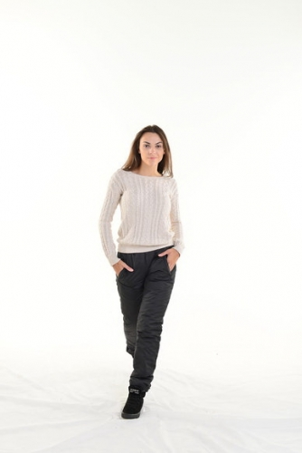 Утепленные зауженные женские брюки синтепон пояс резинка, цвет - черный