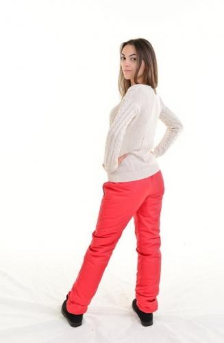 Утепленные зауженные женские брюки синтепон пояс резинка, цвет - красный