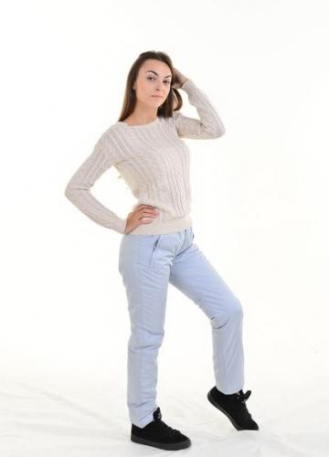 Утепленные зауженные женские брюки синтепон пояс резинка, цвет - серый