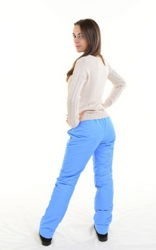Утепленные зауженные женские брюки синтепон пояс резинка, цвет - голубой арт. 006 D