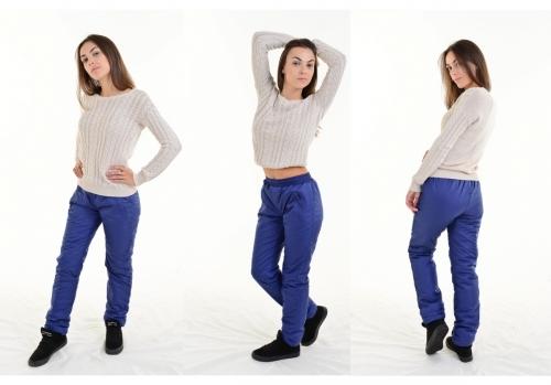 Утепленные зауженные женские брюки утеплитель синтепон пояс резинка, цвет - темно-синий