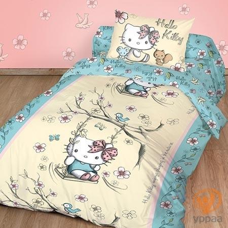 Комплект постельного белья Hello Kitty полутораспальный, поплин 198165