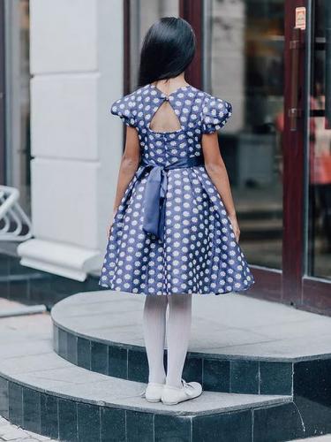 Платье Вивьен Ж16-1 жаккард цветы индиго