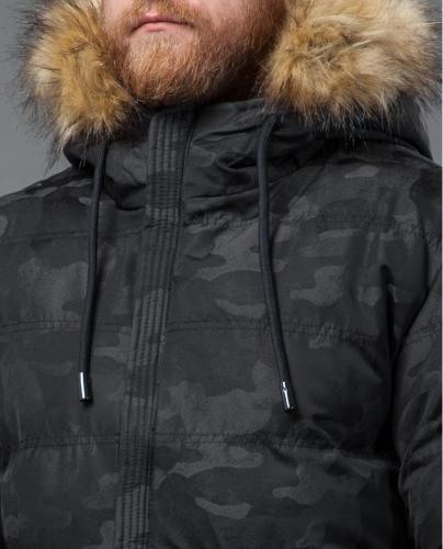 1800 3000Дизайнерская куртка с мехом Tiger Force черная модель 51480