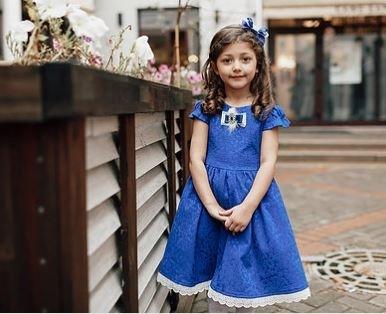 платье для девочки Варвара Ж18-3 жаккард синий