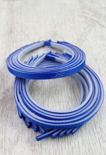 Ободки 1 см, пластик. с репсовой тканью (SF-1466) синий №0040