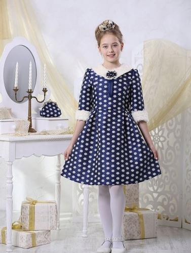платье для девочки Снежанна Ж16-2 жаккард цветы индиго