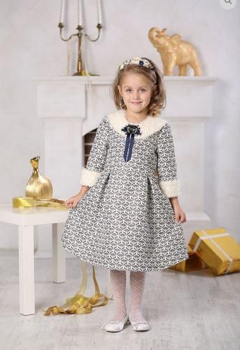 платье для девочки Снежанна Ж16-2 жаккард молочный золото