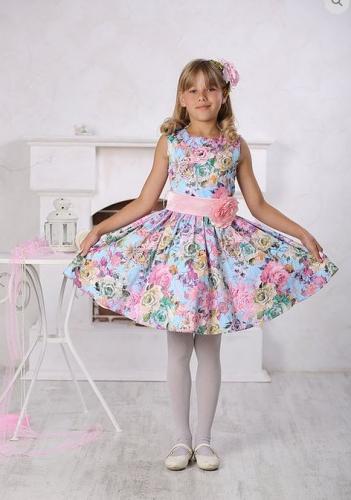платье для девочки Милана М-257 голубой