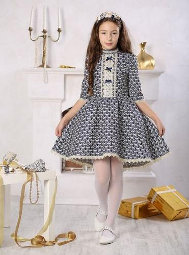 платье для девочки Злата Ж16-4 жаккард синий золото