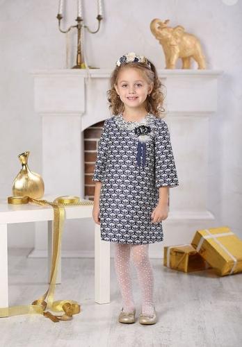 Платье для девочки Люси Ж16-3 синее золото жаккард цветы индиго