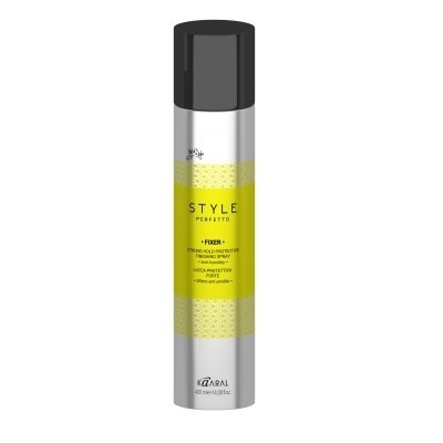 STYLE Perfetto FIXER STRONG HOLD PROTECTIVE FINISHING SPRAY. Защитный лак для волос сильной фиксации.