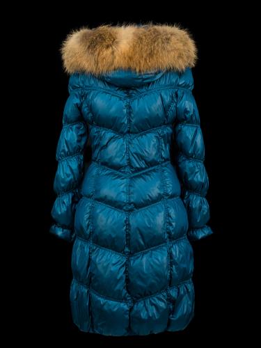 Пальто женское утеп. пух. CANDI (МорВол/синий) енот натуральный