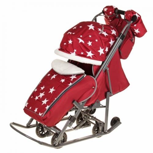 Санки-коляска Pikate Звёзды, цвет бордовый